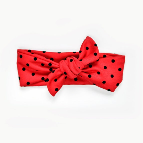 Knitting Ladybug Ladybird Headband : Cute tie headband ladybug red polka dot lady bug