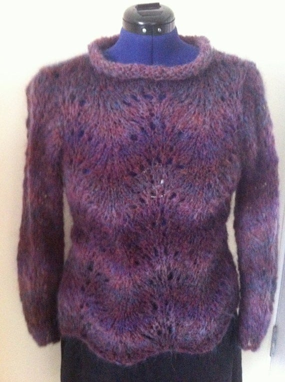 Knitting Pattern Mohair Jumper : Mohair Hand Knit Women Sweater / Lace pattern / Wave by Imunde