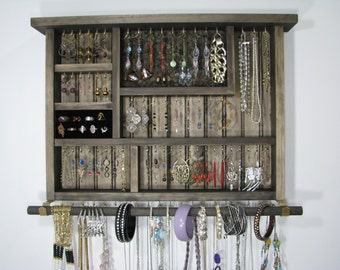 Wall Jewelry Box in Espresso with ring storage and bangle bar