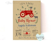 Tractor Baby Shower Invitation - ANY COLORS - Kraft Background - Baby Boy Shower - Farm Shower - Barn Cow Duck Rooster - No.784