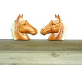 Pair of vintage chalk ware horse head wall plaques