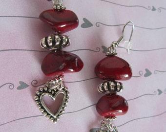 Silver Heart Earrings,Red Earrings,Earrings, Red and Silver Earrings, Red Stone Earrings, Mothers Day Gifts, Birthday Gifts Women, Earrings