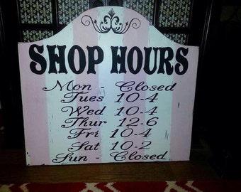 Business Signs, Painted Business Signs, Business Hours, Hours Sign, Custom Business Signs, Chic Business Signs, Salon Signs