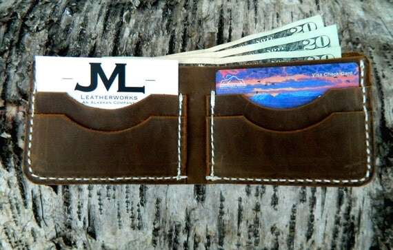 Mens Wallet, MADE IN ALASKA leather wallet, Minimal leather wallet, high quality leather wallet, mens leather bifold