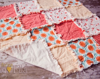 Coral Fly Away mini rag quilt - photography prop, security blanket, baby gift