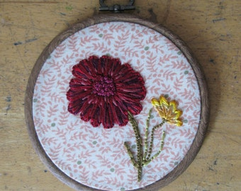 Hand-Sewn, Autumn Flowers, Embroidery Hoop Wall Art