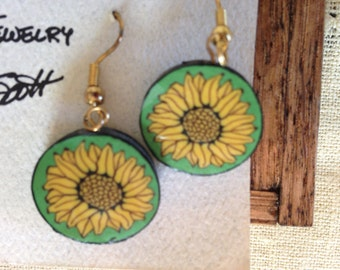 Sunflower polymer clay earrings