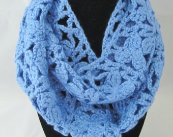 Scarf-Ladies-This attactive scarf is crochet in a lovely powder blue yarn..The stitch looks like a trellis of flowers. A great holiday gift.