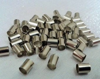 200 Pcs  Silver Tone Color  4 x 5 mm  Tube Spacers , Silver Small Tube
