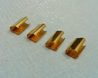 30 Pcs  Raw Brass  6 x 10 mm  Ribbon Crimp Ends,  Cord  Crimp End