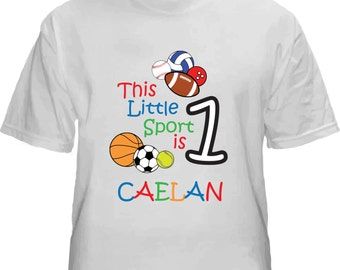 Personalized first birthday boy shirt.  Any age!  Sports.