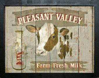 Primitive Rustic Farmhouse Country Kitchen Farm Ranch Home Decor Dairy Cow Milk Sign