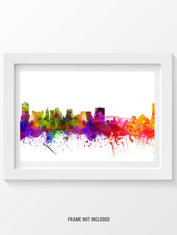 memphis tennessee skyline in color poster home decor gift. Black Bedroom Furniture Sets. Home Design Ideas