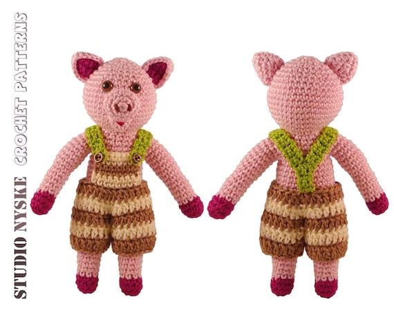 Crochet Toys For Boys : Crochet baby toy pattern amigurumi animal pig boy by