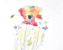 Watercolor Poppy Painting – Original Watercolor Art, Nursery Wall Decor,  Home Decor, Flower Paintings, Abstract Artwork - by MABartStudio