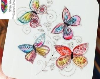 REDUCED - WAS 14.99 - Summer Butterflies Coaster - 4 pack