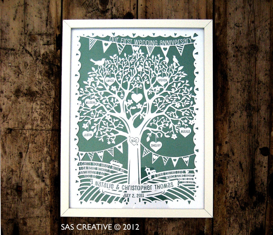 Vintage Outdoor Wedding Ideas: Family Tree / First Wedding Anniversary Papercut Template