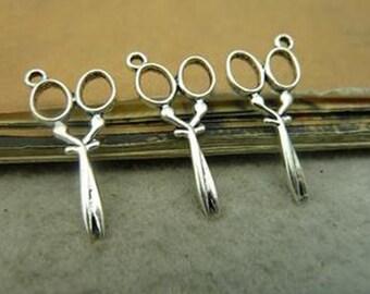 35pcs 14x19mm Antique Silver Lovely Scissor Charm Pendant c4661