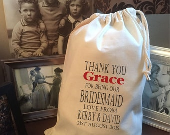 Personalised Bridesmaid Gift Bag - Various Sizes Available Grace Design