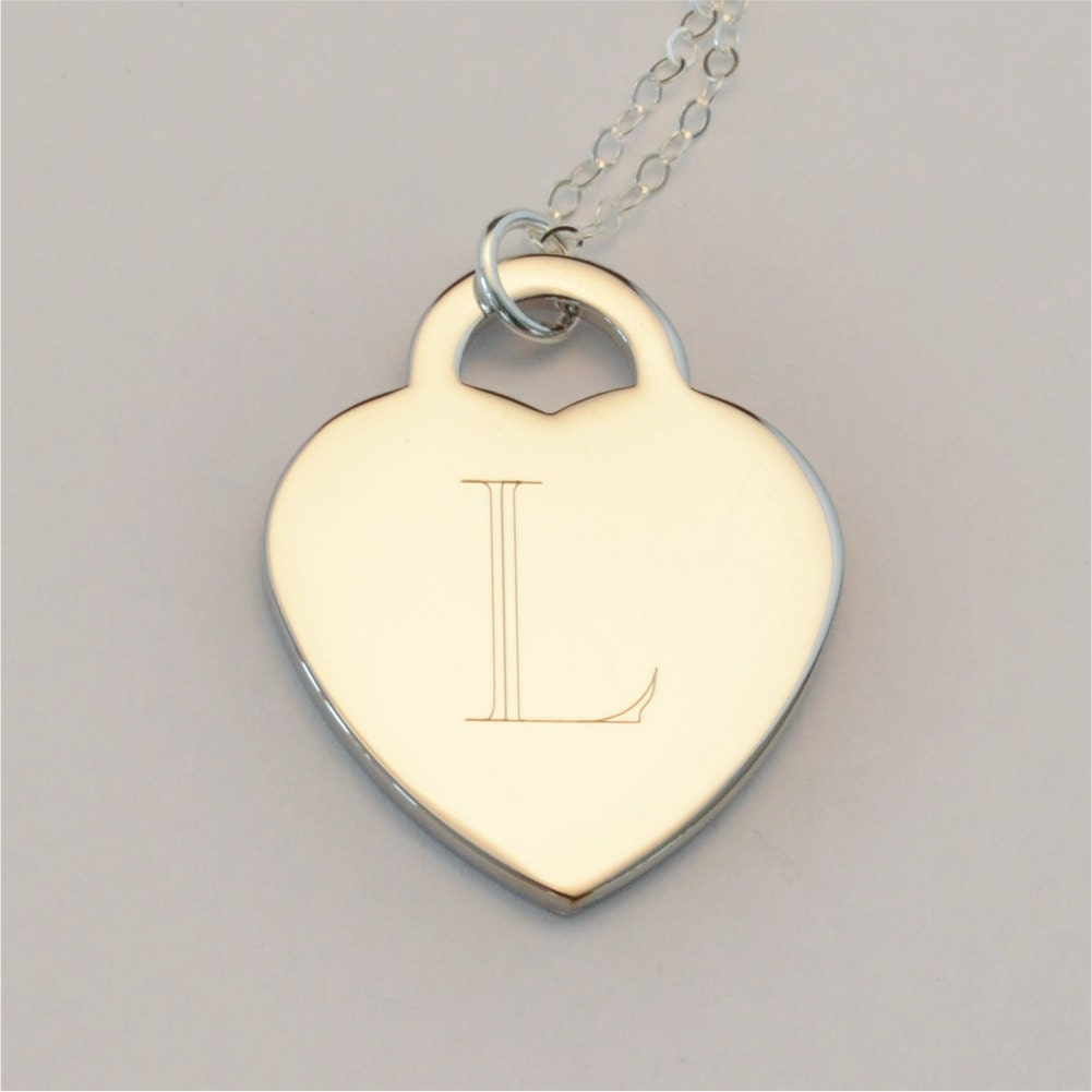 custom engraved initial charm necklace personalized