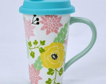 Floral Pattern Ceramic Travel Mug