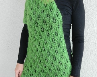 Lace scarf shawl wrap tunic spring leafs hand made knitted gift for women with crochetted brooch-rose