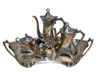 5981 WMF Art Nouveau Tea Set, Silver Plate