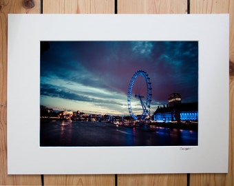 A4 mounted print of River Thames and Millennium Wheel
