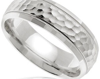 Hammered 14k White Gold Mens Wedding Band (7MM)