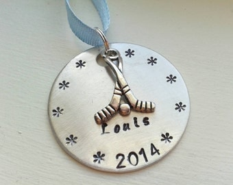 Hand Stamped Hockey Christmas Ornament Personalized With Name And Year Along With Hockey Stick Charm - Hockey Team - Personalized