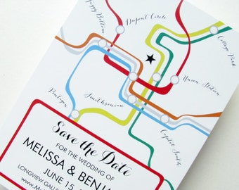 Washington DC metro map save the date