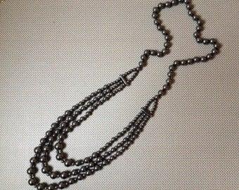 Hematite bead triple strand necklace