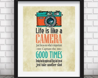 Typographic poster, Quote art, Inspirational print, typography print,digital print,camera print,typography poster,wall decor,Life is