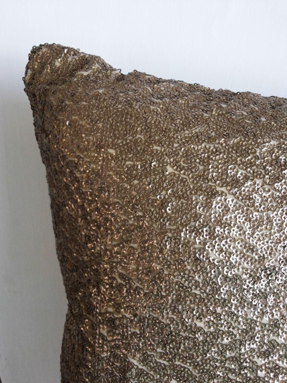 Antique Gold Decorative Pillows : Sale Decorative Gold Sequins Throw Pillow Cover 18x18 Antique