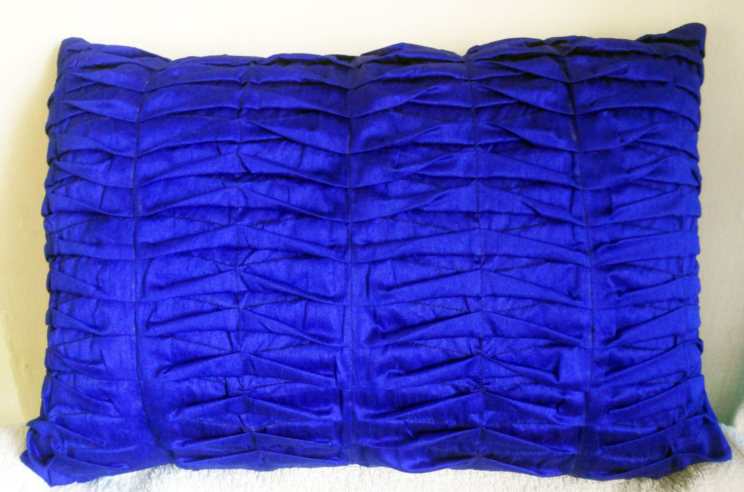Royal blue decorative throw pillow cover with pintucks for Royal blue couch pillows