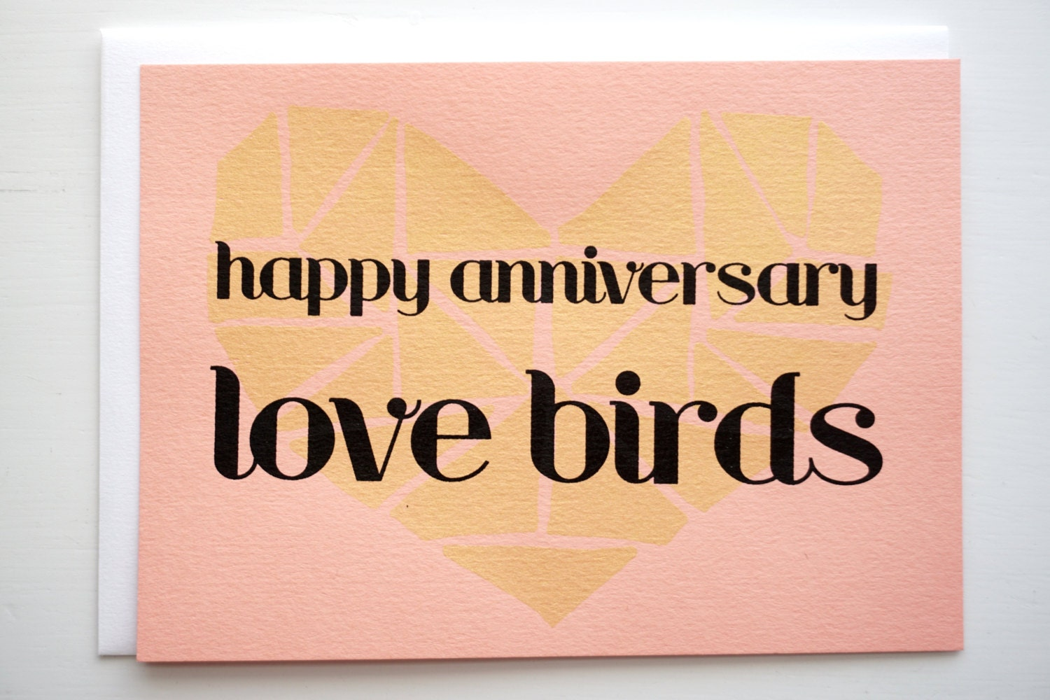 Happy Anniversary Love Birds Heart Gold And By ThePetitePrint