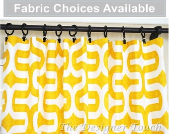 """Yellow Window Treatments Anchors Curtains Nautical Curtains Yellow Curtain Floral Curtains Kids Curtains 63"""" 84"""" 96"""" Any Size"""