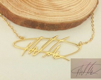 Signature Name Necklace, Custom Handwritting Necklace, Sterling Silver Name Necklace, Handwritting Jewelry, Personalized Necklace N040