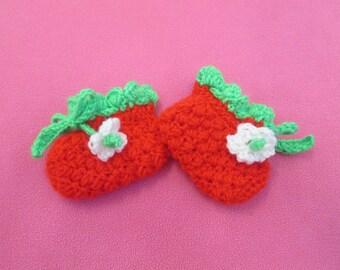 Sweet Strawberry Handmade Crocheted Baby Booties/Baby Shower Gift