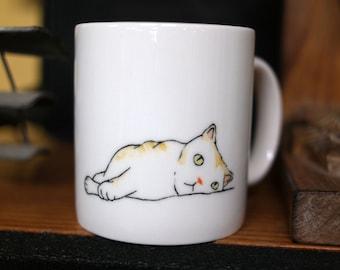 Hand painted animal mug cup - Cute  mug cup - Cat  mug cup - Cute cat - boring cat