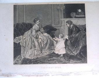 First Step Victorian engraving art print DeJonghe Victorian 1800 ladys child
