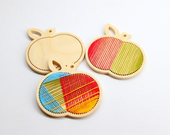 Wooden embroidery kit large apple Homemade  ornament wooden blanks for modern embroidery DIY for beginners sewing kit for kids