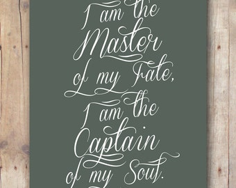 Invictus printable - gift for men - gift for him - inspirational wall art quote - Invictus print - master of my fate captain of my soul