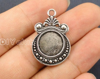 15pcs of Antique Tibetan silver Round Cabochon Base Settings charms, Pendant Trays Match 12mm Cabochon