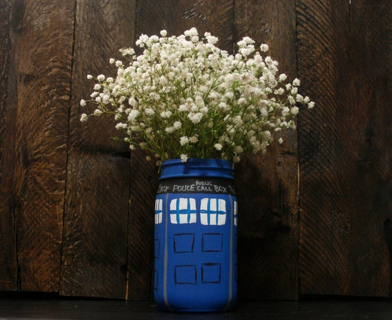 Tardis Painted Mason Jar Doctor Who Flower Vase Rustic Home Decorators Catalog Best Ideas of Home Decor and Design [homedecoratorscatalog.us]