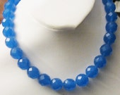 Blue Quartz Necklace 12mm  Round Faceted +Certificate Gift for her Valentines Gift