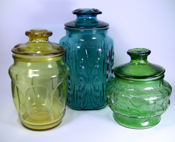 Vintage tri color eclectic glass kitchen canister set blue - Blue glass kitchen canisters ...