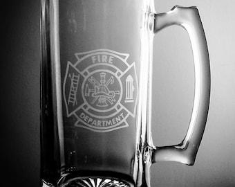 Fire Fighter Fireman Beer Mug Gift Glass