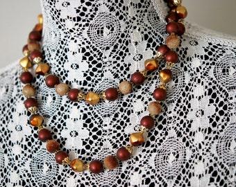 1960s Elegant Bead Necklace Rich Autumn Colors Vintage Costume Jewelry