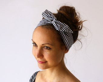 ON SALE! Black Gingham Checks Head band with Wire inlay - FREE shipping within Australia